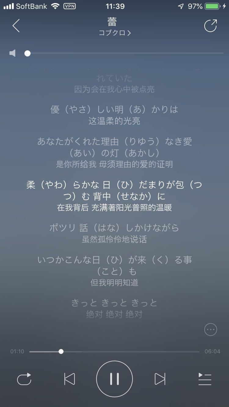 歌詞を表示する画面