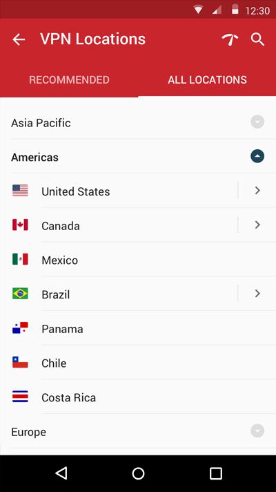 expressvpnの接続国変更